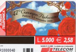 47 CONVEGNO PADOVANO 200-TELECOM LIRE 5000-SCAD.31-12-2002-TIRATURA 35000 - Italia