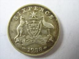 AUSTRALIA SIXPENCE 6 PENCE SIX 1938 SILVER       LOT 24 NUM  6 - Monnaie Pré-décimale (1910-1965)