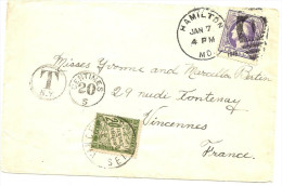 LBL25 - ETATS UNIS LETTRE HAMILTON / VINCENNES JANVIER 1915(?)  TAXEE DUVAL 20c - Etats-Unis