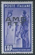 1949 TRIESTE A ERP 15 LIRE MH * - ED277 - Ungebraucht