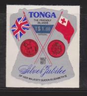 Tonga 1978 $1 Air  Surcharge On $1.1 Official Air  Silver Jubilee Self Adhesive MNH - Tonga (1970-...)