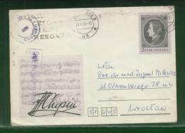 POLAND 1982 CHOPIN PSE LODZ 2 TO WROCLAW PURPLE CENSOR CACHET 680 - 1944-.... República