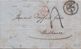 1862 SUISSE, VEVEY Pour MULHOUSE, Entrée SUISSE-St LOUIS, TAXE 4  /53 - ...-1845 Prephilately
