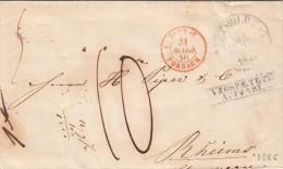 1846 LETTRE ALLEMAGNE, DETMULD.T&T Pour RHEIMS, Entrée TOUR-T- FORBACH 1, TAXE PLUME 10  /54 - [1] Prephilately