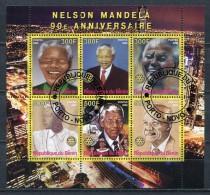 BENIN 2008 NELSON MANDELA 90th ANNIVERSARY SHEET FANTASY USED - Fantasy Labels