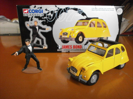 James BOND 007 - CITROEN 2CV + Figurine James BOND - Avec Sa BOITE D'origine - Collectors & Unusuals - All Brands