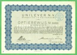 AANDEEL OPTIEBEWIJS UNILEVER UIT 1937 STEMPEL NOORD HOLLAND 50 C   (7) - Aandelen