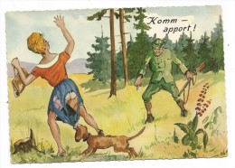 """CP - HUMOUR - CHASSEUR - CHIEN - JEUNE FEMME - """" KOMM-APPORT !"""" - Hunting"""
