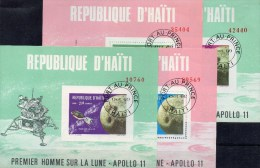 USA-Raumschiff Apollo 11 Umkreist Den Mond Haiti Block 39-42 O 12€ 1.Mondlandung 1969 Bloque M/s Space Sheets Bf Caribic - Haïti