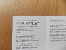 Doodsprentje Rachel Duribreux Komen 31/12/1908 Warneton 29/4/1997 ( Maurice Zègres ) - Religion & Esotericism