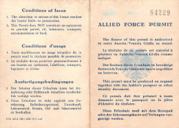 ALLIED FORCE PERMIT PERMIS CONDUIRE AUTRICHE ZONE OCCUPATION ARMEE FRANCAISE ZFO TOA TRANSIT ALLEMAGNE