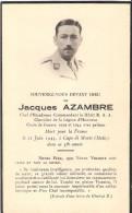 FAIRE PART DECES CHEF ESCADRON 67 RAA  CEF ITALIE MORT FRANCE CAPO DI MONTE 1944 CORPS EXPEDITIONNAIRE