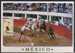 MEXIQUE.le Lancer Du Lasso. Rodeo Mexicain. (Carnaval De La Charreria)  Une Belle Carte-maximum - Carnival