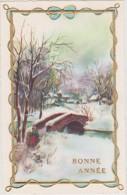 Carte Mignonnette Bonne Année Paysage ( Contour Doré En Relief) - Anno Nuovo