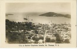 D.W.I. Danish West Indies St Thomas V.Islands City And Harbot Charlotte Amalie Real Photo - Vierges (Iles), Amér.
