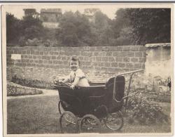 Carte Photo Bébé Debout Dans Son Landau 1925 - Photos