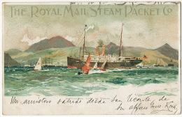 St Vincent Cape De Verde The Royal Mail Steam Packet Co Art Card Charles Dixon Paquebot Ship Cancel - Capo Verde
