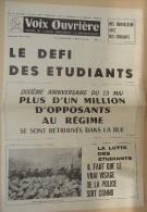 Histoire Politique Mai 68 - Voix Ouvrière Organe De L'Union Communiste (4e Internationale) No 25 Du 15 Mai 1968 - - Journaux - Quotidiens