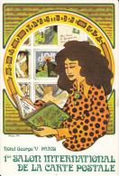 CPSM 1 ER SALON INTERNATIONAL DE LA CARTE POSTALE HOTEL GEORGES V PARIS DESSIN PHILIPPE FIX 1975 PEU COURANTE - Borse E Saloni Del Collezionismo