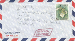 Belize 1994 Corozal World Orchid Conference Brassavola $2 Special Delivery Express Cover - Belize (1973-...)