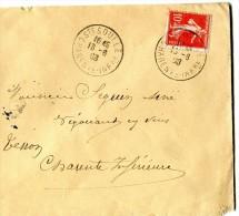 SAINTE SOULLE Charente Maritime CAD Sur 10 Cts SEMEUSE Du 18.6.1908 - Marcophilie (Lettres)
