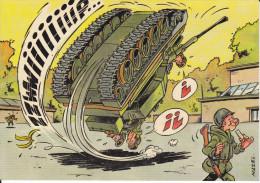 CPSM SOLDATS HUMOUR DESSIN MAZEL MANOEUVRE CHAR TANK RENVERSE - Humor