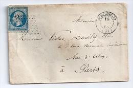 N° 14 BLEU NAPOLEON SUR LETTRE / BERLAIMONT NORD  POUR PARIS  / 18 JANV 1861 - 1849-1876: Période Classique