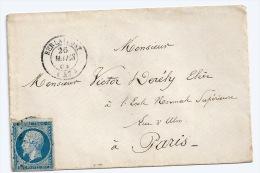 N° 14 BLEU NAPOLEON SUR LETTRE / BERLAIMONT NORD  POUR PARIS  / 26 MARS 1861 - 1849-1876: Période Classique