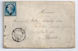 N° 14 BLEU NAPOLEON SUR LETTRE / BERLAIMONT NORD  POUR PARIS  / 8 FEV 1861 - 1849-1876: Période Classique