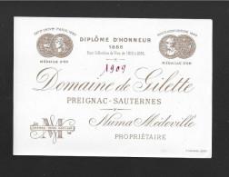 Etiquette De Vin  -  Domaine De Gilette   -  Preignac  Sauternes   -  1909 - Bordeaux
