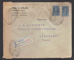 GRECE 1914/1918 Usages Courants Obl. S/enveloppe Recommandée Censure Militaire Française - Greece