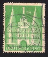 Allemagne 1948 Oblitération Ronde Used Stamp Porte De La Vieille Ville Lübeck Holstentor Vert - Zone Anglo-Américaine