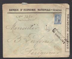 GRECE 1914/1918 Usages Courants Obl. S/enveloppe Censure Militaire Hellenique - Greece
