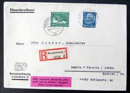 50 Pfg. Flugpost 1938, Mi.Nr. 670, Mit Weiterer Frankatur Auf Dekorativem R-Brief Von Braunschweig Nach Bautzen - Deutschland