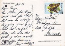 Kenya PPC East African Coast MOMBASA 1988 Card Karte GENTOFTE Denmark 3´50 Sh Schmetterling Butterfly Papillon (2 Scans) - Kenia (1963-...)