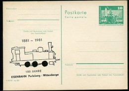 DDR P79-33-81 C166 Postkarte ZUDRUCK SCHIEF Eisenbahn Perleberg-Wittenberge 1981 - Cartoline Private - Nuovi