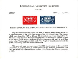 Ireland MNH Souvenir Card 1976 200th Anniversary American Declaration Of Independence - Int'l Collectors Exhibition - Ierland