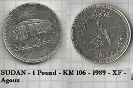 SUDAN - 1 Pound - KM 106 - 1989 - XF - Agouz - Soudan