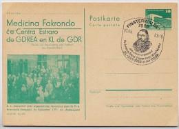 ESPERANTO-MEDIZIN-KONGRESS DDR P84-11b-82 C9-b Postkarte Zudruck Sost. Finsterwalde 1983 - Esperanto