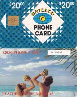 BAHAMAS ISL.(chip) - Beaching In Bahamas(BAH C7aC), Medium Number In Box, Chip GEM1a, Used - Bahamas