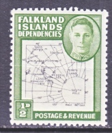 FAKLAND  ISLANDS  1L1  Fault  *  MAP  VARIETY - Falkland Islands