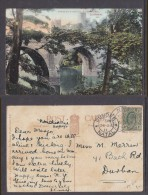 South Africa: NODWENI NATAL C.d.s.., DUNDEE Transit On  DURHAM CATHEDRAL PPC To Durban, 1911 - South Africa (...-1961)