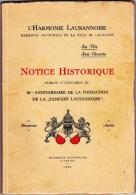 Harmonie Lausannoise - Notice Historique - Fanfare Lausanne 1937 - Livres, BD, Revues