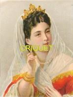 Ancienne Chromo Pastel , Femme Avec Voile Et Couronne - Chromos