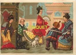 Chromo 19ème Thème  Orientalisme,Geisha Et Sa Suite, Chat Persan, Temple, éventail ... - Chromos