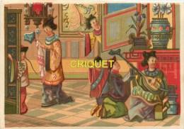 Chromo 19ème Thème  Orientalisme, Intérieur De Geisha , Mandoline, Paravent, Vases... - Chromos