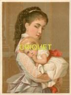 Ancienne Chromo Pastel, Jeune Femme Avec Une Petite Fille Dans Les Bras - Chromos