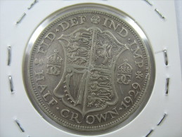 UK GREAT BRITAIN ENGLAND 1/2 HALF CROWN  1929 SILVER 500 LOT 26 NUM 3 - K. 1/2 Crown