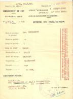 ORDRE REQUISITION LIGNE AERIENNE DAMAS PARIS FFL TROUPE LEVANT 1945 BEYROUTH FRANCE LIBRE
