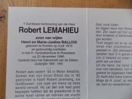Doodsprentje Robert Lemahieu Komen 3/7/1910 Roeselare 20/12/1996 ( Z.v. Henri En Marie Justine Ballois ) - Religione & Esoterismo